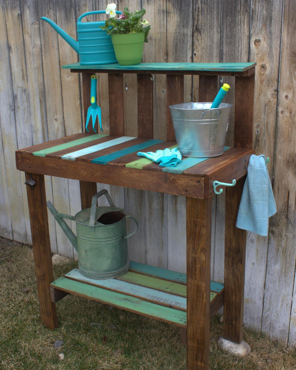 Make a garden potting bench hgtv Outdoor potting bench