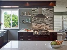 Contemporary Kitchen With White Quartz Countertops