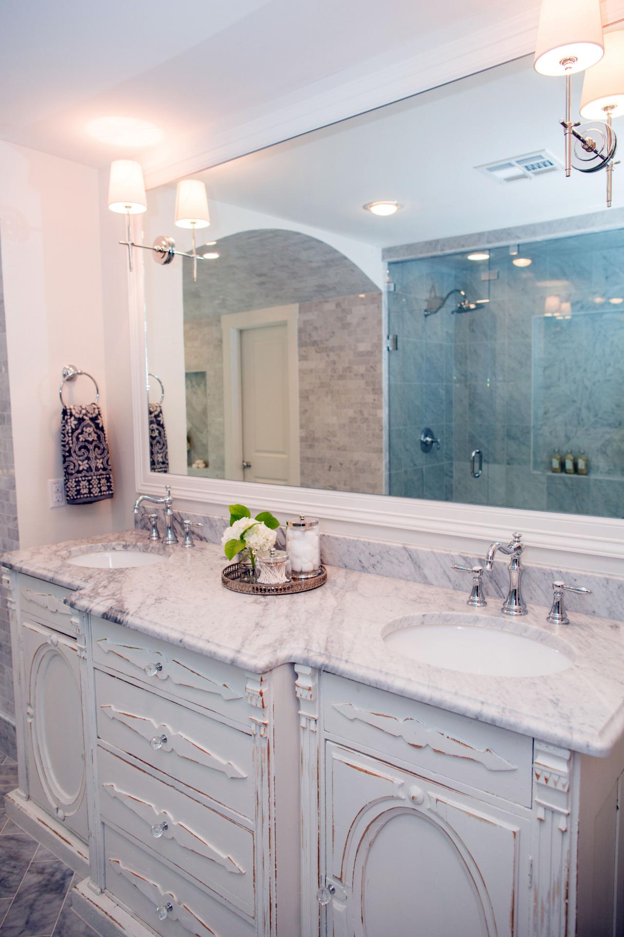 A Close Up Of The Double Sinks In Remodeled Master Bathroom Newly Renovated Ferguson Home As Seen On FIxer Upper After