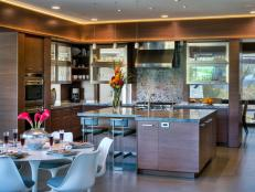 Contemporary Kitchen With Exotic Wood Cabinets