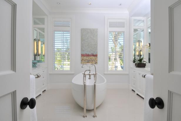 Transitional Bathroom is Light and Airy