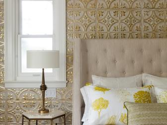Master Bedroom Tin Tiled Accent Wall