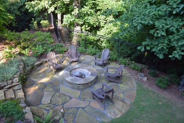 Round Fire Pit in the Woods