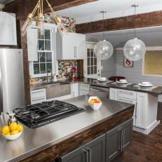 Open Floor Plan Kitchen Mixes Rustic, Modern Styles