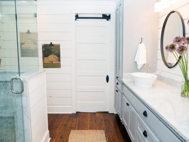 Master Bathroom With Vintage Sliding Barn-Door