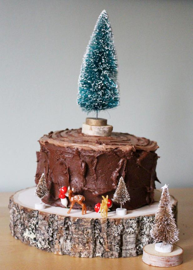 Faux Bois Cake With Evergreen Tree