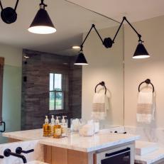 Raised Cabinet in Master Bathroom Maximizes Space