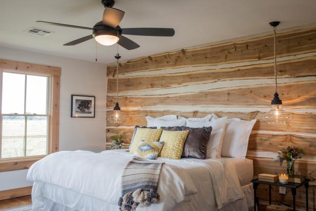 Master Bedroom with Repurposed Wood Wall