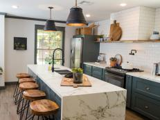 Gray Marble Countertop Pops in Rustic Industrial Kitchen