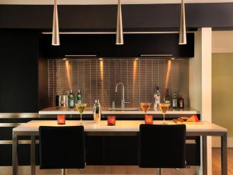 Black-and-White Contemporary Basement Kitchenette