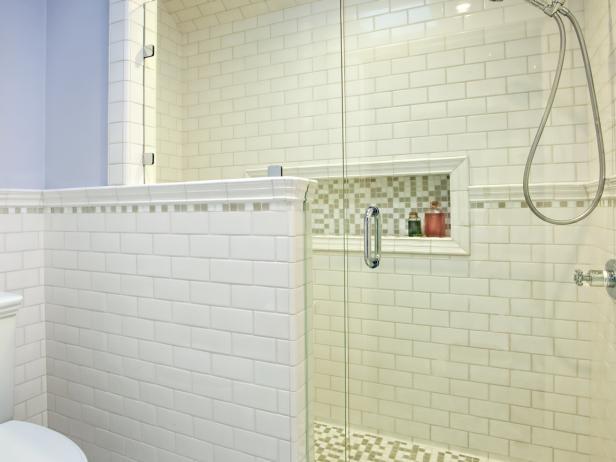 Blue Bathroom with Subway Tile Shower