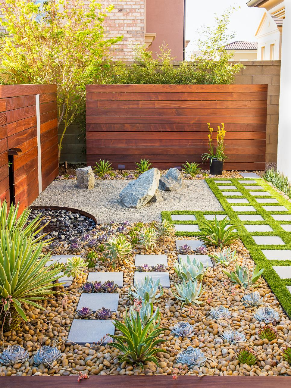 California zen rock garden with ipe wood water feature for Modern garden design for small spaces
