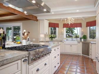 French Country-Inspired Kitchen With White Cabinets