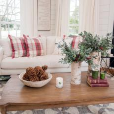 Coffee Table Adorned With Holiday Accents in Living Room