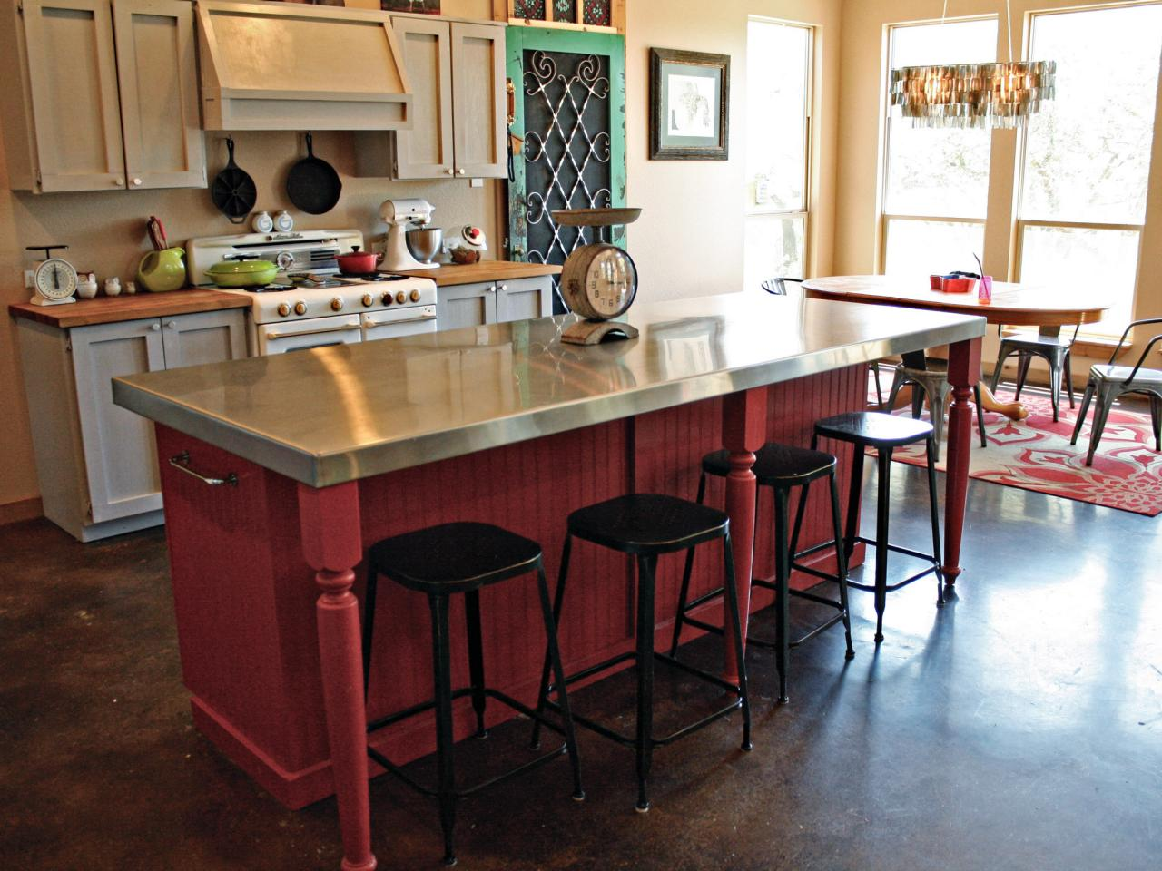 diy red kitchen island with seating area