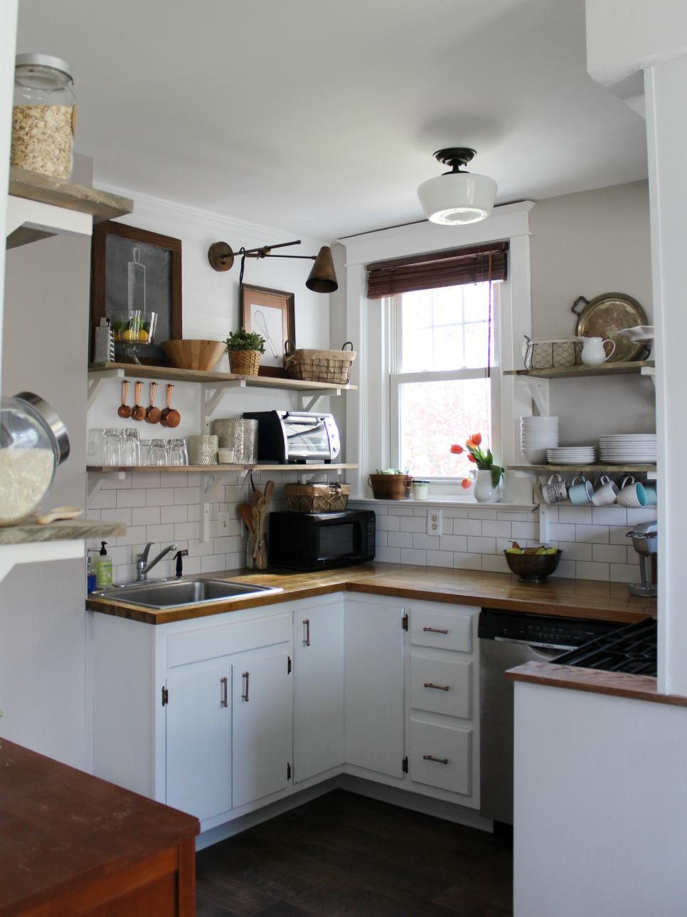 Before and after kitchen remodels on a budget hgtv for Tiny kitchen remodel
