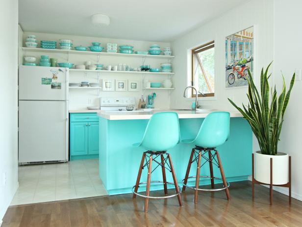 White Kitchen With Bold Turquoise Cabinets