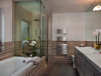 Neutral Modern Bathroom With Striped Wall