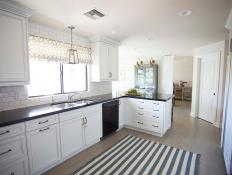 White Transitional Kitchen with Subway Tile