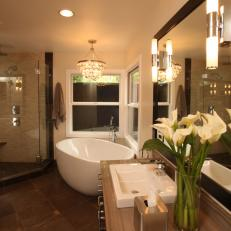 Luxurious Contemporary Bathroom Features Freestanding Tub