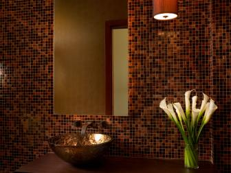 Warm, Contemporary Powder Room With Floating Vanity & Vessel Sink
