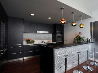 Sophisticated Contemporary Kitchen With Sleek Black Cabinets