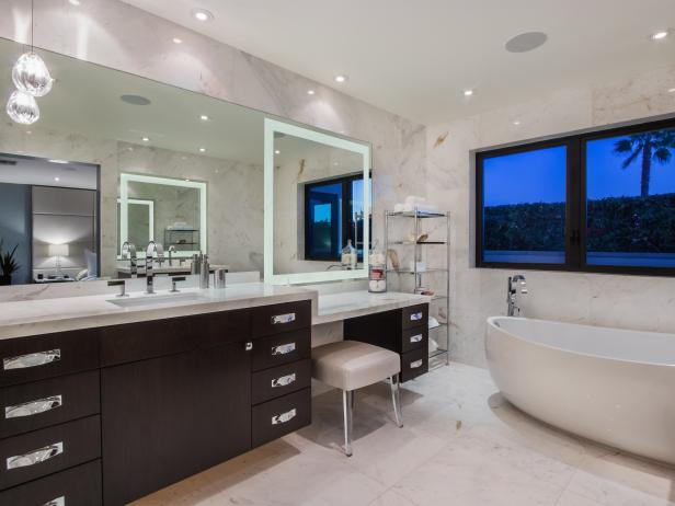White Contemporary Spa Bathroom With Soaking Tub