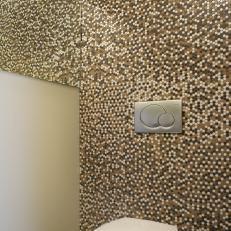 Brown Mosaic Tile Bathroom Accent Wall