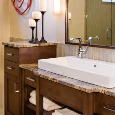 Custom Wood Bathroom Vanity With Farmhouse Sink