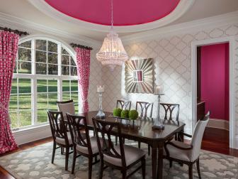 Pink and White Transitional Dining Room With Pink Ceiling