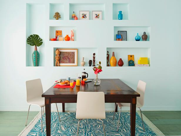 Multicolored Dining Area With Built-Ins