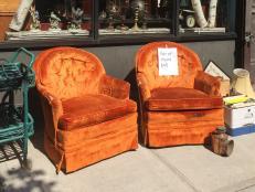 Worn Out Orange Velvet Chairs