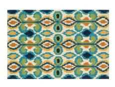 Ivory and Blue Patterned Rug