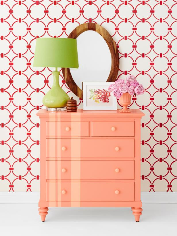 Coral Striped Dresser in Colorful Bedroom