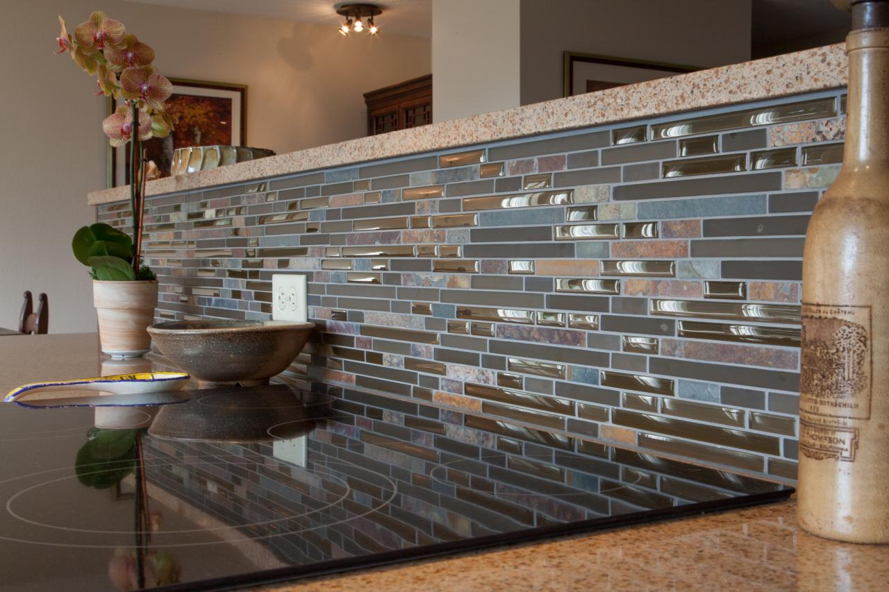blue brown gray glass mosaic linear tiles backsplash white