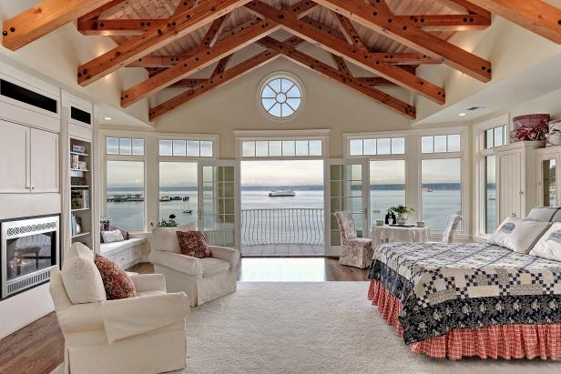 Spacious Coastal Bedroom With Vaulted Ceiling