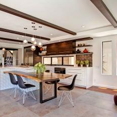 Gorgeous Open Plan Kitchen Boasts Natural Textures