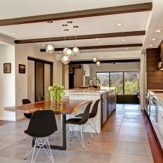 Bright & Airy Open Plan Kitchen With Natural Textures