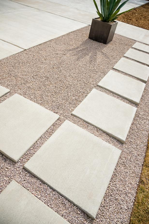 Concrete Paver Walkway in Gravel