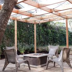 Backyard Patio With Wood Pergola