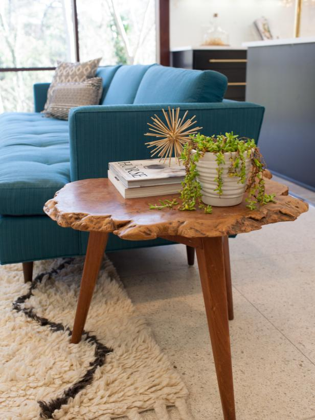 Live Edge Side Table in Midcentury Modern Living Room