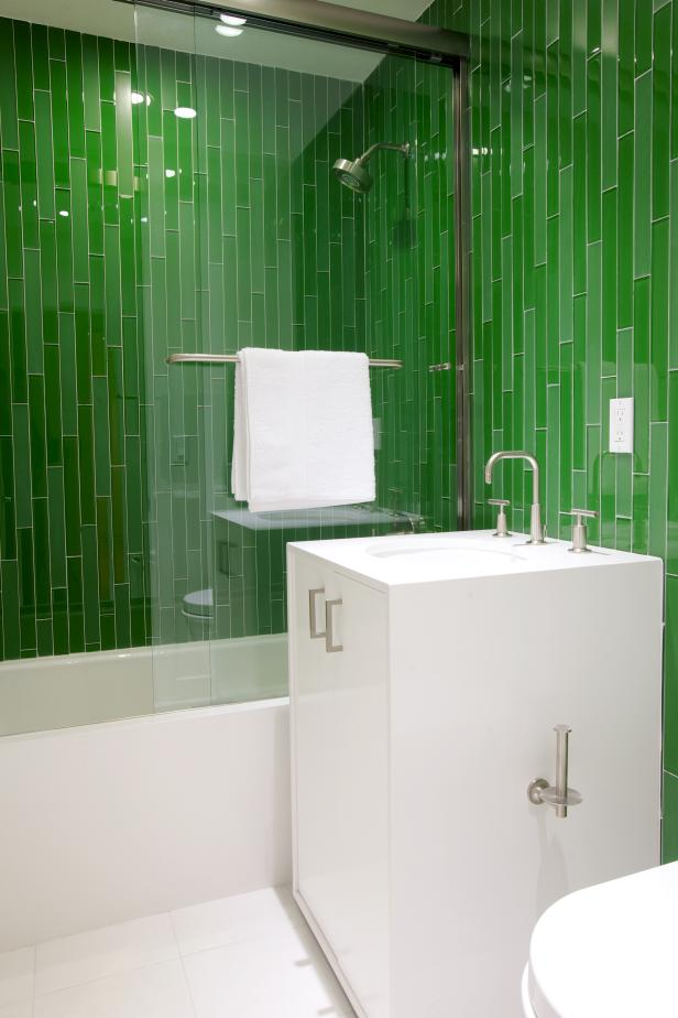 Photo page hgtv for Green and gray bathroom designs