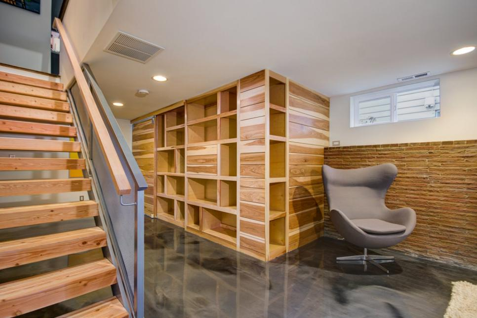 Transitional basement features custom wall storage unit for Basement sliding doors