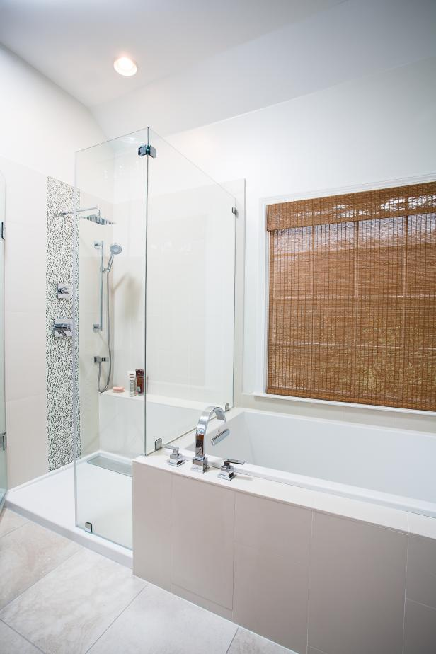 Bathroom With Glass-Enclosed Shower, Tub and Woven Roman Shade