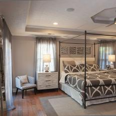 Contemporary Gray Master Bedroom With Canopy Bed