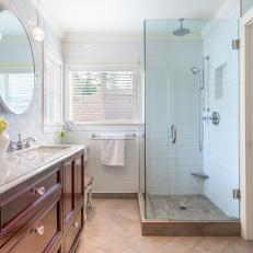 Transitional Master Bathroom With Glass Enclosed Shower