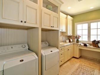 Green and White Traditional Large Laundry Room
