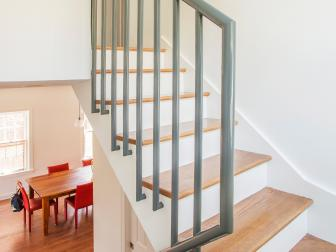 Staircase With Modern Gray Metal Railing