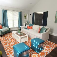 Transitional Living Room With Vibrant Palette
