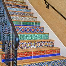 Mediterranean Stairs With Colorful Patterned Tiles